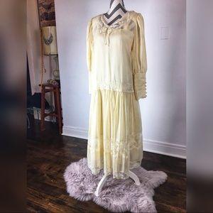 Vintage white drop waisted dress